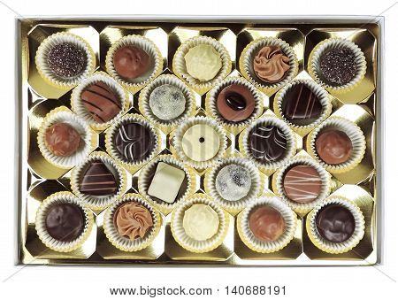 Chocolates box, isolated on white background. Chocolate truffles, variation.
