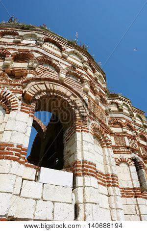 NESSEBAR BULGARIA - JUNE 15 2011: Church of Saint John Aliturgetos on the central street in the old Nessebar town coast of Black Sea Sunny Beach Bulgaria.