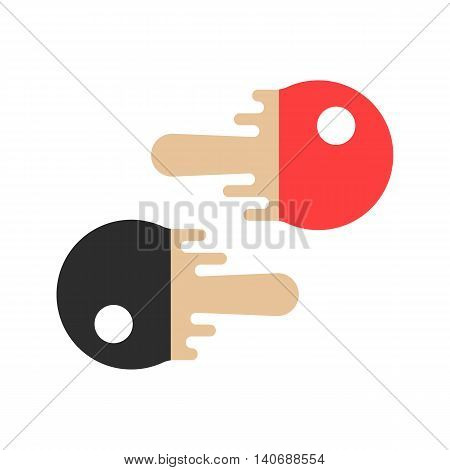 red and black tennis rackets. concept of sport school emblem, winner, olympic team, sporting goods store mark or badge, flying ball motion. flat melted style modern logo design vector illustration