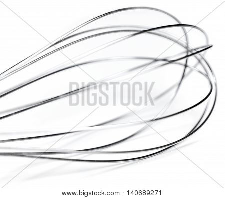 Wire whisk, macro shot, isolated on white