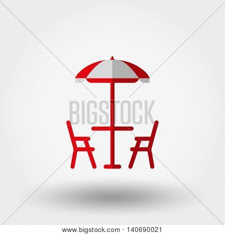 Beach table under an umbrella and chairs. Icon for web and mobile application. Vector illustration on a white background. Flat design style.