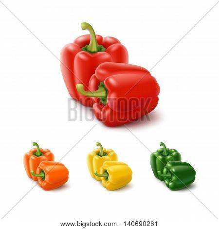 Vector Set of Colored Yellow Green Orange and Red Sweet Bulgarian Bell Peppers, Paprika Isolated on White Background