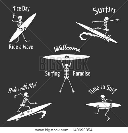 Skeleton surfer vector illustration. Vector skeleton with surfboard in Hawaii