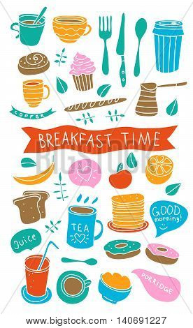 Breakfast time illustrations. Cute breakfast doodles: coffee, juice, porridge, sandwich