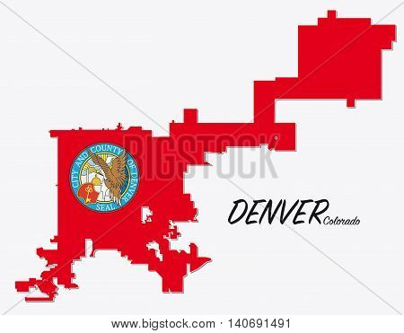 map with seal and limit of denver, colorado