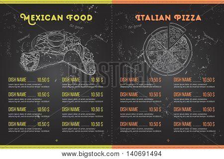 Scetch horisontal menu design on blackboard, pages 4, 5. Vector illustration EPS 10