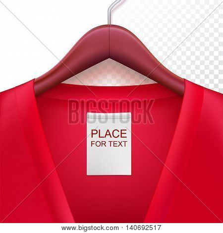 Jacket with label hanging on a hanger. Clothes hanger with red jacket on trasparent background. The template for your design or advertising messages.