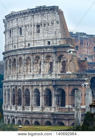 Colosseum morning exterior view. The symbol of Imperial Rome Italy.
