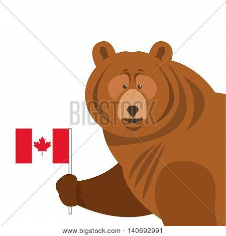 flat design grizzly bear icon vector illustration