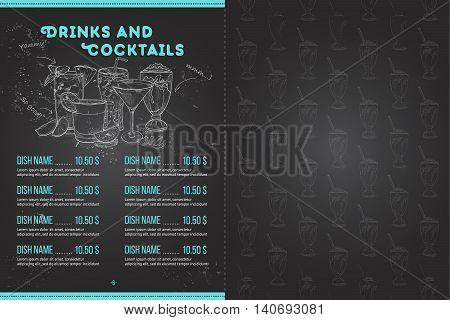 Scetch horisontal menu design on blackboard, pages 6, 7. Vector illustration EPS 10