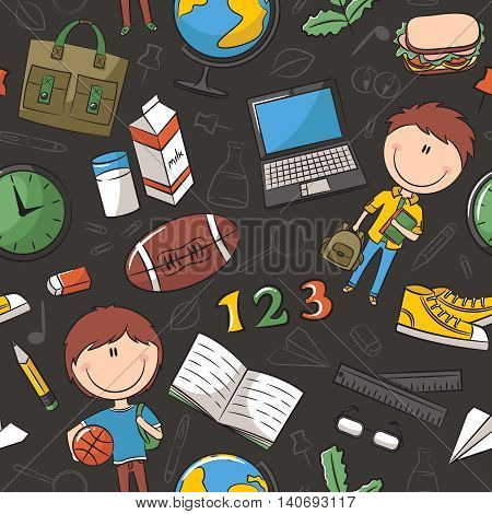 School boys with tools and education objects vector seamless pattern. Teaching kids background.