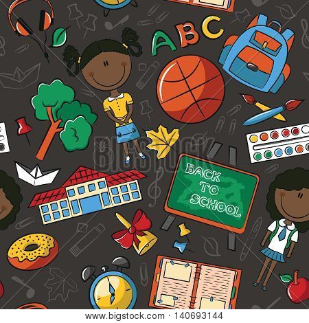 African-American school girls with tools and education objects vector seamless pattern. Teaching kids background.