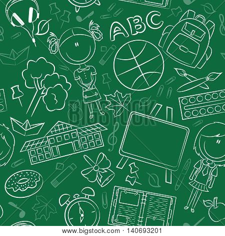 School girls with tools and education objects vector doodle seamless pattern. Teaching kids background.
