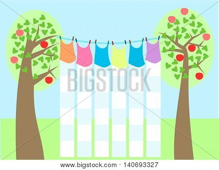 School timetable styled like laundry drying on a clothesline among the trees on which they are ripened apples. Without text. Simple stylized flat graphic.