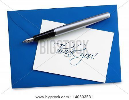 Thank you card, isolated on White background.