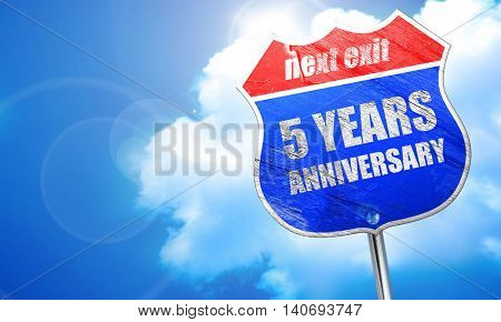 5 years anniversary, 3D rendering, blue street sign