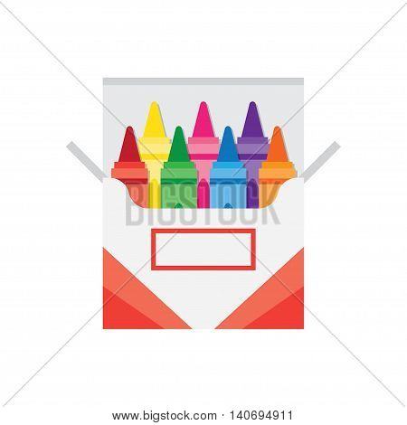 full box of wax colorful crayons vector illustration
