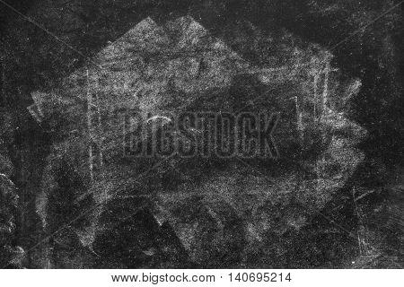Chalk marks on dirty used vintage school blackboard as copy space