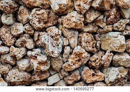 Texture of wall made of the Jerusalem stones. Old wall made of the rough stone.