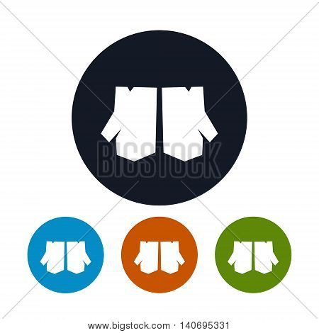 Icon Work Gloves, Four Types of Round Icons Work Gloves, Protective Gloves Builder or Farmer, Vector Illustration