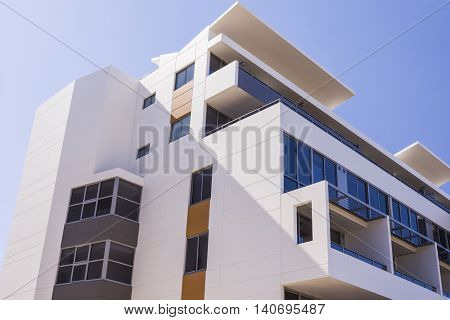 Modern Building With Blue Sky Showed The Upper Part