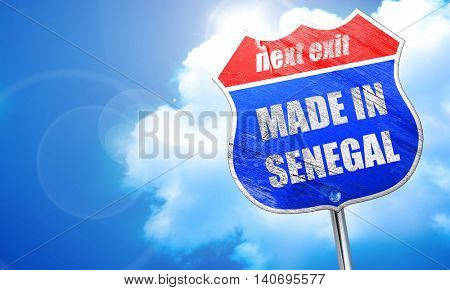 Made in senegal, 3D rendering, blue street sign