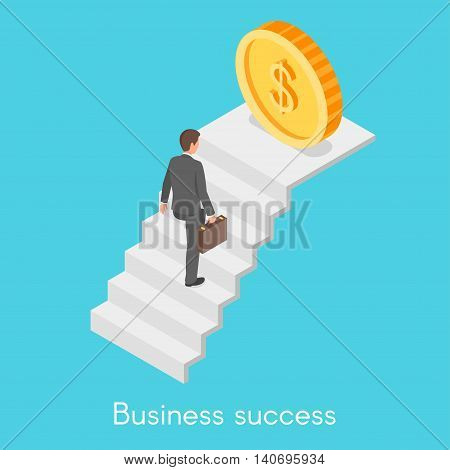 Isometric 3d vector concept of businessman climbing the career ladder.