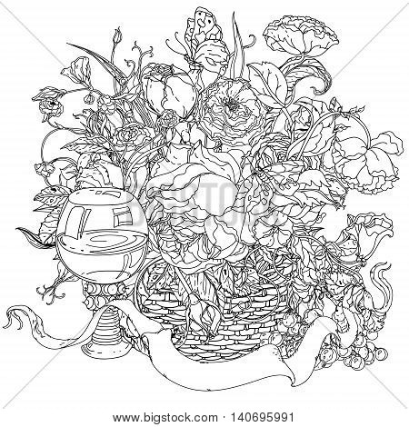 elegant bouquet shaped contoured garden flowers, leaves. black and white, for coloring book or poster colouring book style luxury roses in zenart style, could be used for Adult colouring book.