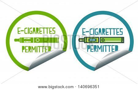 Set icons of electronic cigarettes permitted sticker label sign
