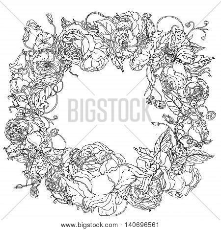 graceful wreath shaped contoured garden flowers, leaves. black and white, for coloring book or poster colouring book style luxury roses in zenart style, could be used for Adult colouring book.