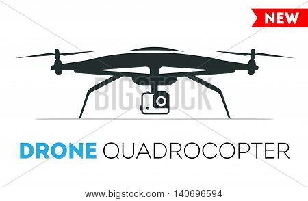 Drone quadrocopter Icon. Flight controlled security quadrocopters drone helicopter.