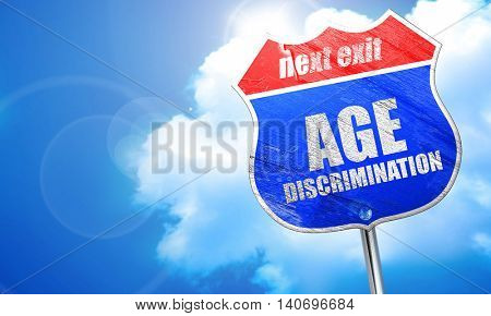 age discrimination, 3D rendering, blue street sign