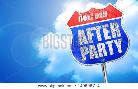 afterparty, 3D rendering, blue street sign