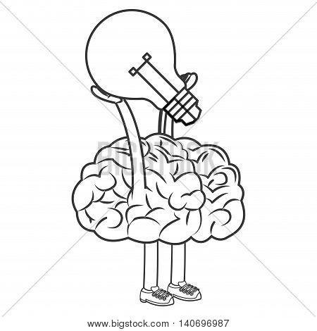 flat design human brain lifting lightbulb icon vector illustration