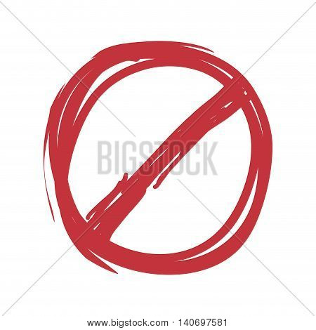 Label concept represented by forbidden seal stamp icon. Isolated and flat illustration