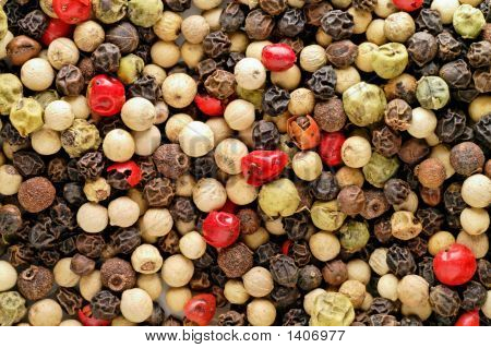 Red, Green, White Pepper, Pimento And Schinus Background