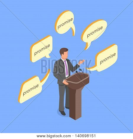 Isometric 3d vector concept of young politician giving empty promises.