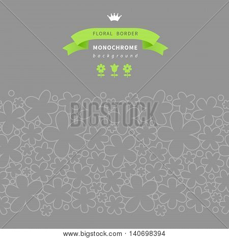 Simple Floral Seamless Border On Grey Background.