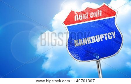 bankruptcy, 3D rendering, blue street sign