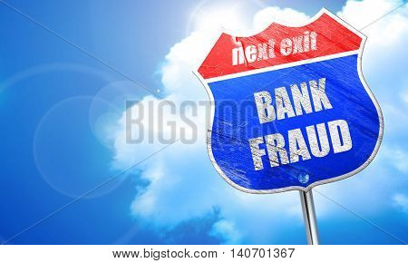 Bank fraud background, 3D rendering, blue street sign