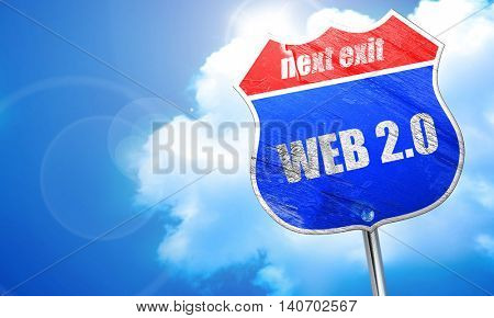 web 2.0, 3D rendering, blue street sign