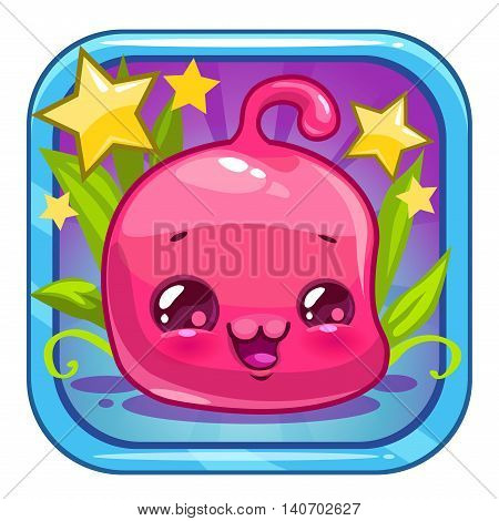 Funny jelly alien character. Cute square cartoon app icon for web or web design. Application vector logo design element.
