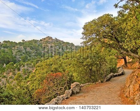 Path in the Serra de Tramuntana mountains Majorca Spain