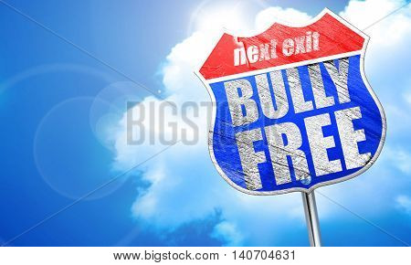 bully free, 3D rendering, blue street sign
