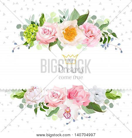 Stylish mix of flowers horizontal vector design frame. Green hydrangea wild rose camellia orchid peony carnation eucaliptus leaf wildflowers. All elements are isolated and editable.