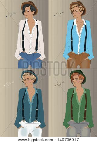Girls with colorful shirts and hats. Hipster look. Vector illustration