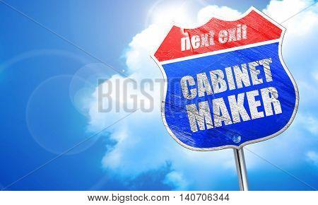 cabinet maker, 3D rendering, blue street sign