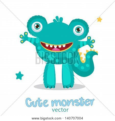 Cute Monster Vector Illustration. Cartoon Mascot. Vector Fantastic Animals. Funny Frogman On A White Background. Theme For Kids T-Shirt.