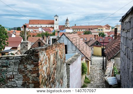 Old houses streets and churches in Skalica town Slovak republic. Travel destination. Architectural theme.