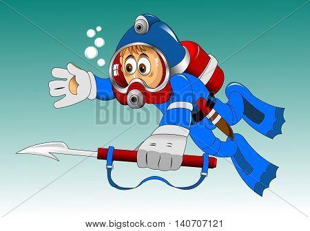 cartoon diver boy surprised face on the deep sea